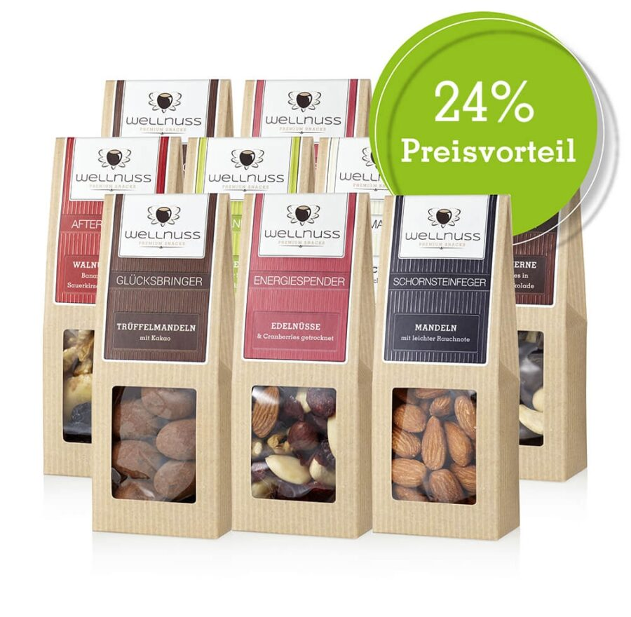 10 wellnuss Premium Snacks Faltschachteln (je 60-70 g)-0