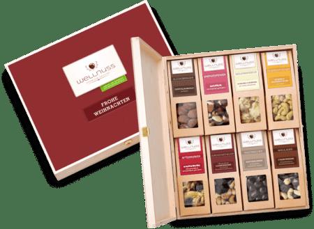 Frohe Weihnachten - 8 Snacks in der Birkenholzbox-0