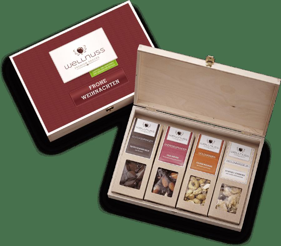 Frohe Weihnachten - 4 Snacks in der Birkenholzbox-0