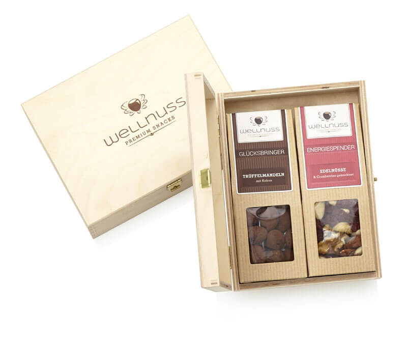 Mit wellnuss Branding - 2 Snacks in der Birkenholzbox-0