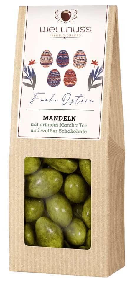 Mandelkerne mit grünem Matcha Tee und weißer Schokolade - 60g-0