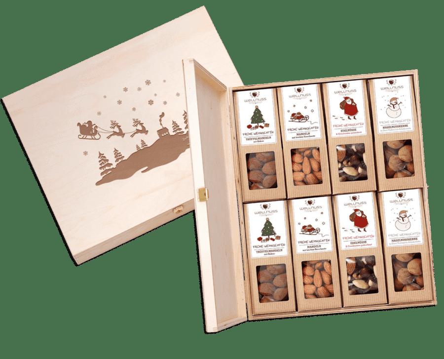 """""""Limitierte Weihnachtsedition"""" - 8 Snacks in der Birkenholzbox-0"""