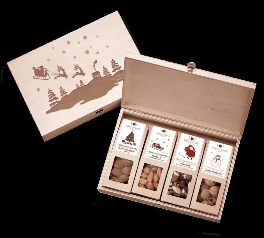 """""""Limitierte Weihnachtsedition"""" - 4 Snacks in der Birkenholzbox-0"""