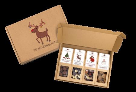 """4 Snacks im braunen Versandkarton mit Weihnachtsmotiv """"Elch"""" -0"""