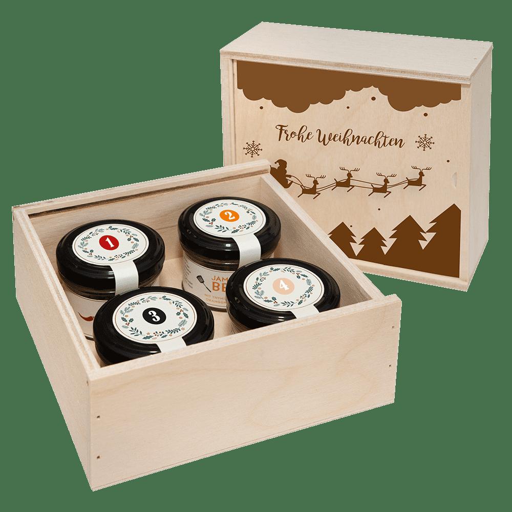 Adventskalender in der Birkenholzbox mit 4 Gewürzen-0